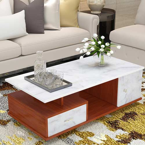 papel de muebles de mármol blanco en la mesa de centro